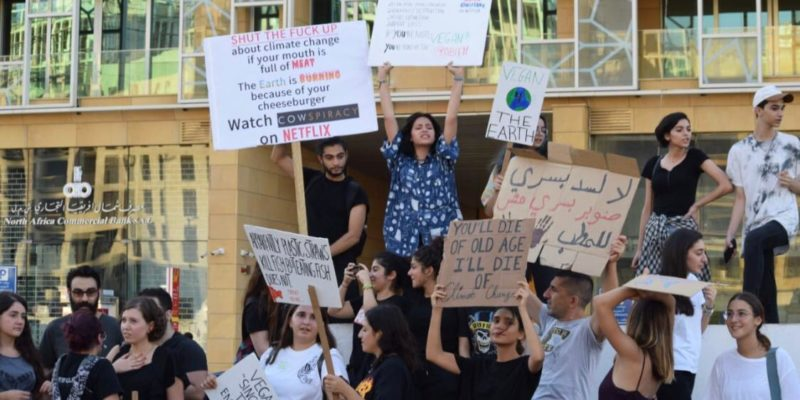 Vegans and protesters come together to march in Beirut demanding action on climate change